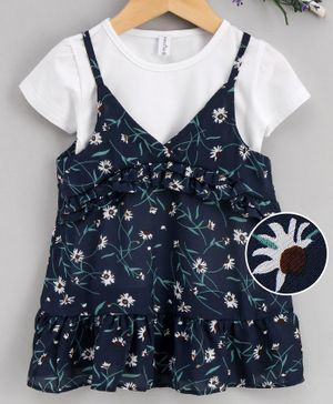 Lekeer Kids Short Sleeves Tee With Frock Floral Print - White Black