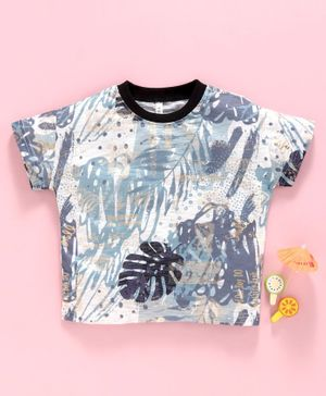 Lekeer Kids Half Sleeves Tee Tropical Print - Blue