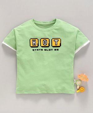 Lekeer Kids Half Sleeves Tee Text Print - Green