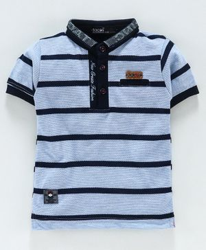 Tacos Striped Polo Half Sleeves T-Shirt - Blue