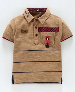 Tacos Striped Half Sleeves Polo Tee - Brown