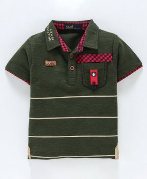 Tacos Striped Half Sleeves Polo Tee - Olive