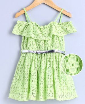 Babyoye Cotton Cold Shoulder Frock Floral Embroidered - Lime Green