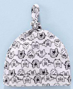 Babyhug 100% Cotton Printed Cap - Grey White