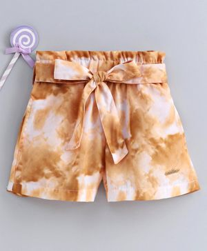 Button Noses Shorts With Belt Printed - Dark Yellow