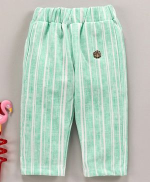 Button Nose Ankle Length Striped Trouser - Green