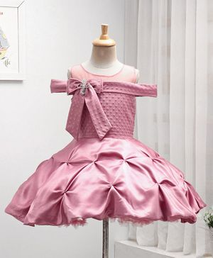 Enfance Cap Sleeves Bow Decorated Dots Self Design Flared Party Dress - Pink