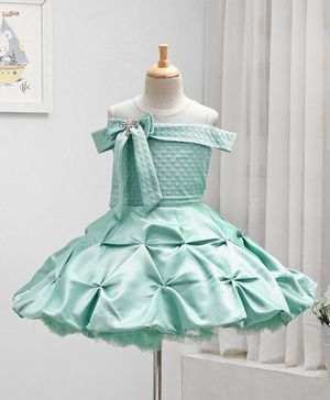 Enfance Cap Sleeves Bow Decorated Dots Self Design Flared Party Dress - Green