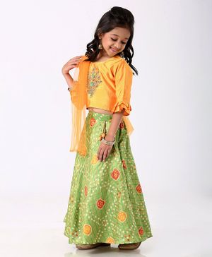 Enfance Flower Embroidered Three Fourth Sleeves Choli With Ghagra & Dupatta Set - Yellow