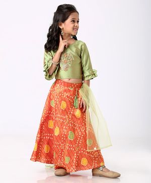 Enfance Flower Embroidered Three Fourth Sleeves Choli With Ghagra & Dupatta Set - Green