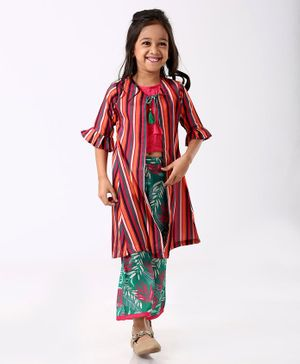 Enfance Striped Half Sleeves Shrug With Top & Palazzo - Pink