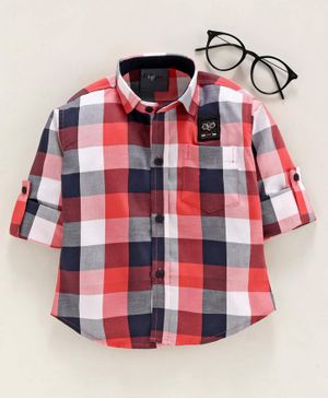 Dapper Dudes Full Sleeves Checked Shirt - Red