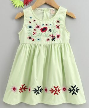Smile Rabbit Sleeveless Floral Embroidered Frock - Light Green