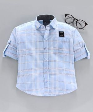 Dapper Dudes Full Sleeves Checked Shirt - Sky Blue