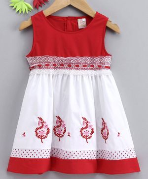 Smile Rabbit Sleeveless Floral Embroidered Frock - Red White