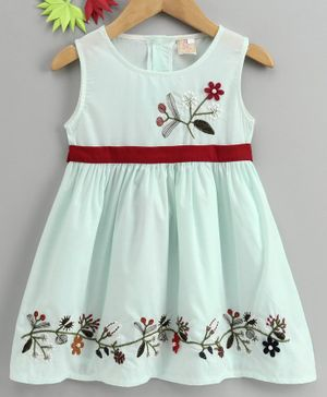 Smile Rabbit Sleeveless Floral Embroidered Frock - Mint
