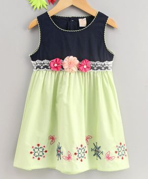 Smile Rabbit Sleeveless Frock Embroidered Flower Applique - Green