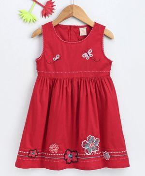 Smile Rabbit Sleeveless Floral & Butterfly Embroidered Frock - Red