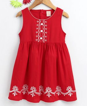 Smile Rabbit Sleeveless Embroidered Frock - Red