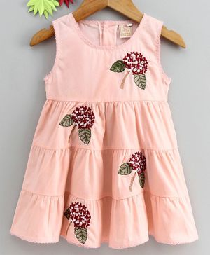Smile Rabbit Sleeveless Floral Embroidered Frock - Pink