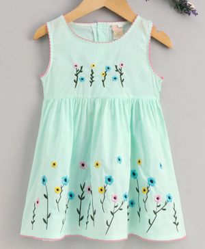 Smile Rabbit Sleeveless Floral Embroidered Frock - Sea Green
