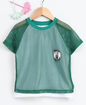 Meng Wa Half Sleeves Net T-Shirt - Dark Green