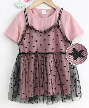 Meng Wa Star Printed Frock With Inner Half Sleeves Tee - Pink