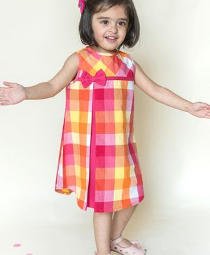 Campana Sleeveless Bow Detailed Checkered Dress - Pink & Yellow
