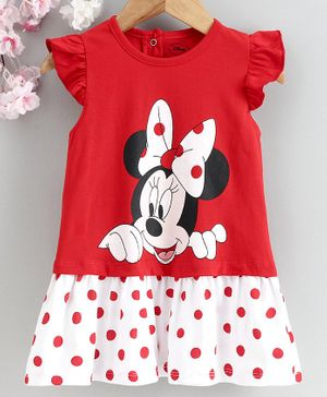 Babyhug Flutter Sleeves Frock Minnie Mouse Print - Red