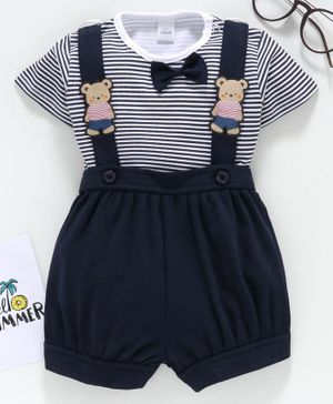 Olio Kids Shorts with Suspender & Half Sleeves Stripe Inner Tee - Navy Blue