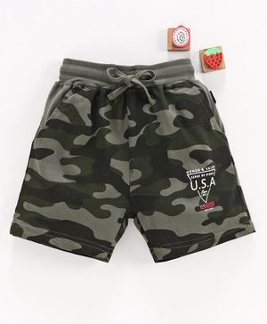 Olio Kids Camouflage Shorts with Drawstring - Olive Green