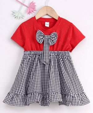 Meng Wa Short Sleeves Checks Frock With Bow - Red