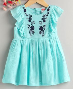 Babyhug Short Sleeves Frock Floral Embroidered - Turquoise