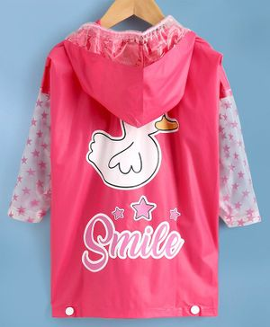 Babyhug Full Sleeves Hooded Raincoat Duck Print - Pink