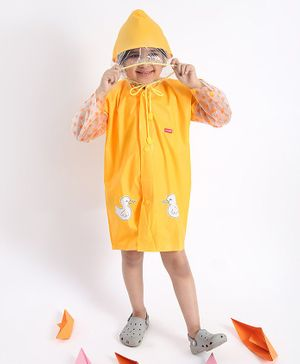 Babyhug Full Sleeves Hooded Raincoat Duck Print - Mustard Yellow