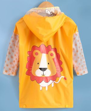 Babyhug Full Sleeves Hooded Raincoat Lion Print - Yellow