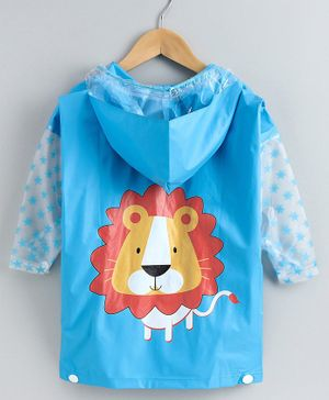 Babyhug Full Sleeves Hooded Raincoat Lion Print - Blue