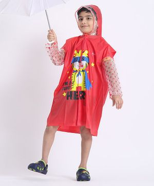 Babyhug Full Sleeves Raincoat Animal Print - Red