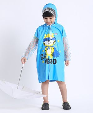 Babyhug Full Sleeves Raincoat Animal Print - Blue