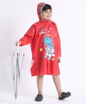 Babyhug Full Sleeves Hooded Raincoat Space Dino Print - Red