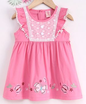 Sunny Baby Short Sleeves Frock Butterfly Patch - Pink