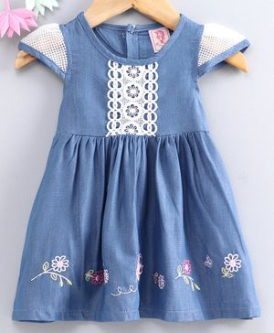 Sunny Baby Cap Sleeves Butterfly Embroidered Frock - Light Blue
