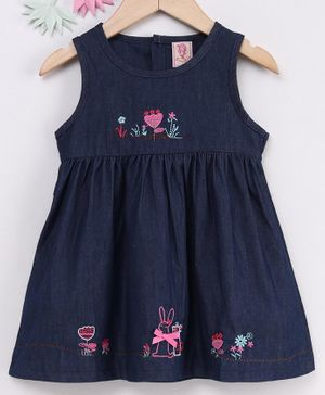 Sunny Baby Sleeveless Embroidered Frock - Navy Blue