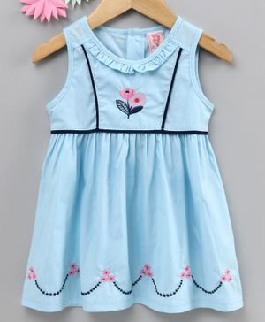 Sunny Baby Sleeveless Floral Embroidered Frock - Light Blue