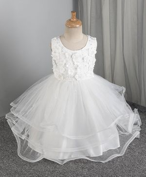 Mark & Mia 3/4th Length Frock Pearl Embellishment - White