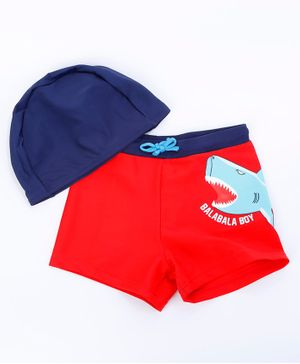 Awabox Dinosaur Printed Shorts & Cap - Blue & Red