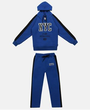 Li'l Tomatoes Full Sleeves NYC Patch Detailed Hoodie & Track Pants Set - Royal Blue