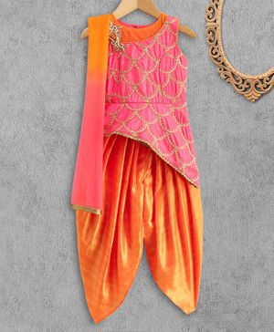 Babyhug Sleeveless Zari Embroidered Kurti and Salwar with Dupatta - Pink Orange