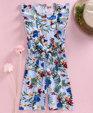 Babyhug Sleeveless Jumpsuit Floral Print - Blue