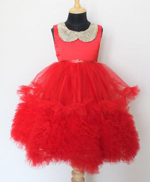 Barbie by Many Frocks & Sequined Collared Princess Party Gown - Red